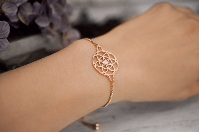 SEED OF LIFE Sterling Silver, Rose Gold Finish Adjustable Bracelet