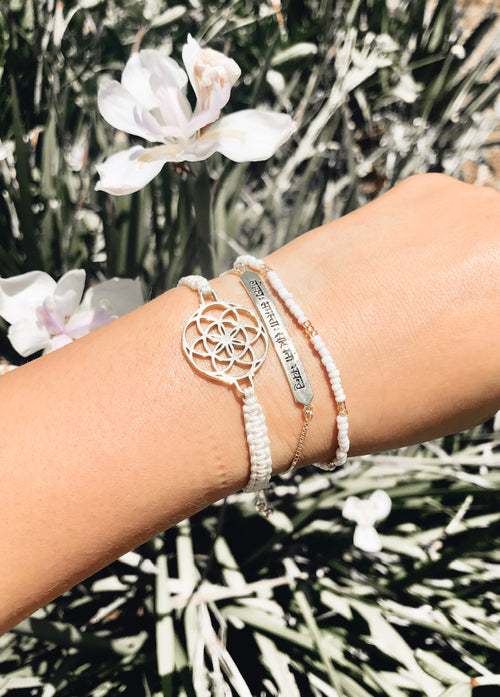 "Sanskrit Chant ""May All Beings Be Happy & Free"" Sterling Silver Box Chain Bracelet 18K Gold Vermeil *Seen in Vogue"