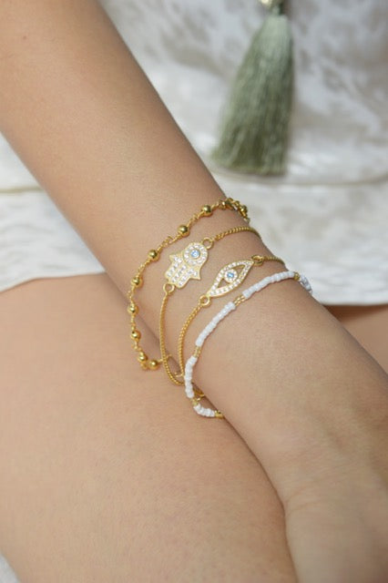 Dainty Beaded Ball Bracelet, White Rhodium