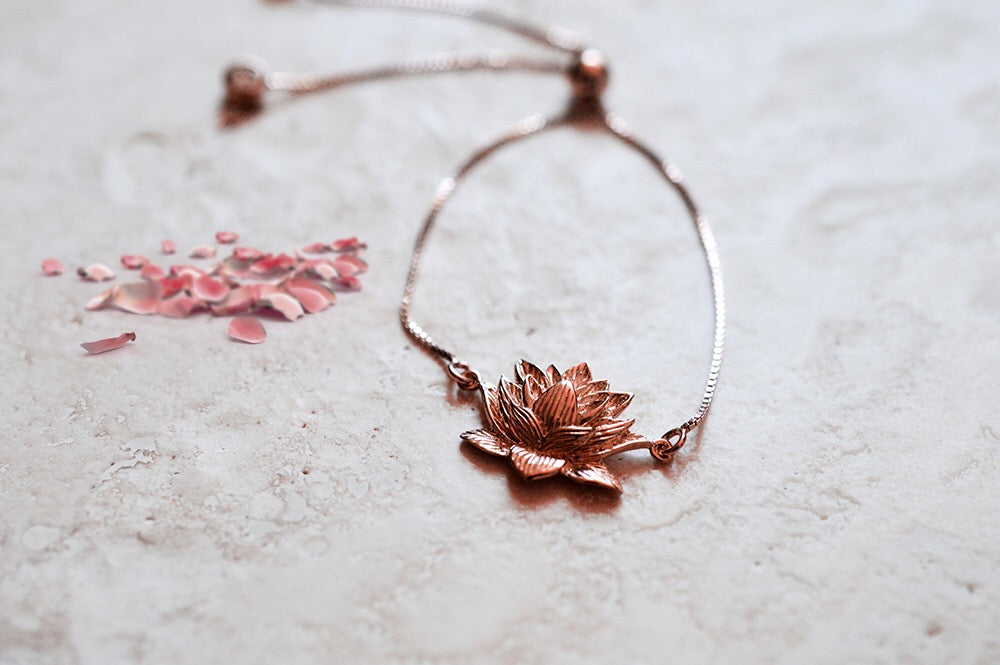 Awakened Lotus Adjustable Bracelet, Rose Gold Vermeil
