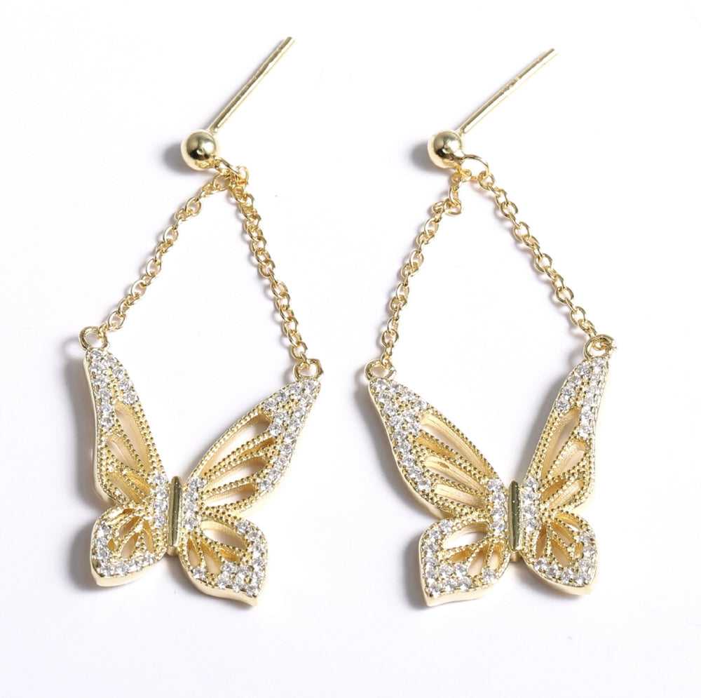 Graceful Spirit Butterfly Earrings, Rose Gold Vermeil with CZ Diamond Pave