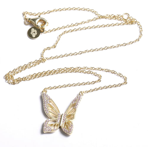 Graceful Spirit Butterfly Necklace, White Rhodium with Pave CZ Diamond