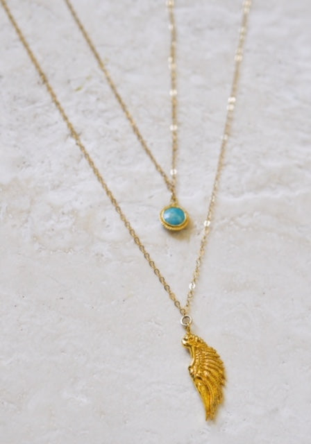 ARCHANGEL RAGUEL Angel Of Harmony & Justice Necklace, Turquoise, 18K Gold