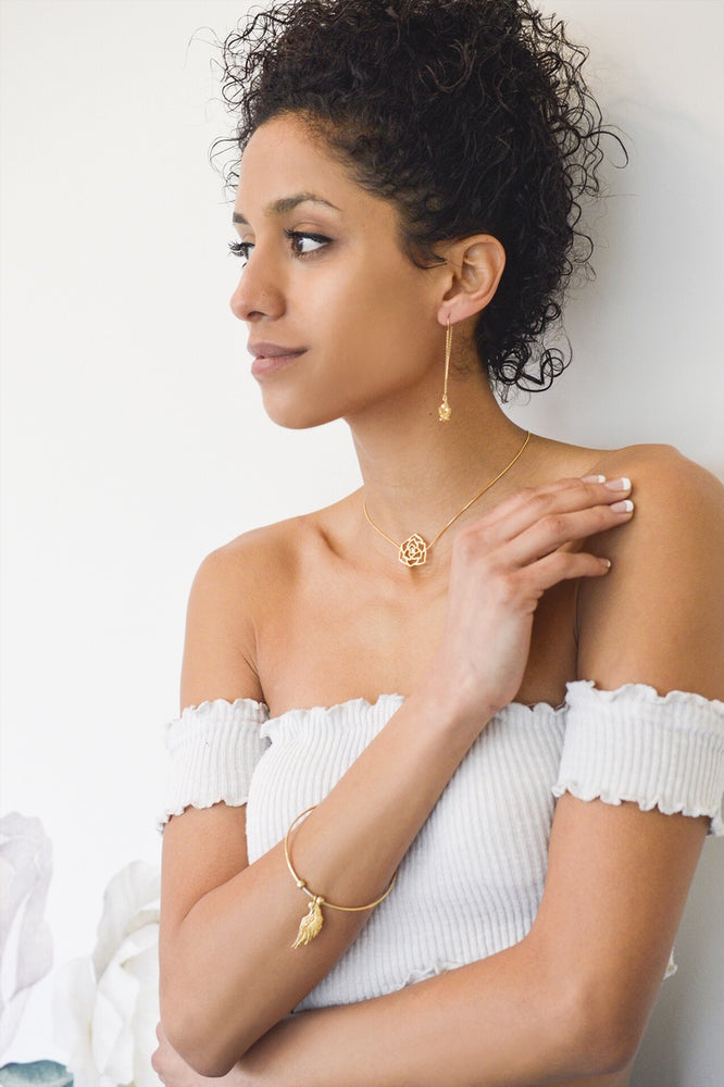"""Compassionate Rose"" Geometric Sliding Choker with Rose Quartz, 18K Gold Vermeil"