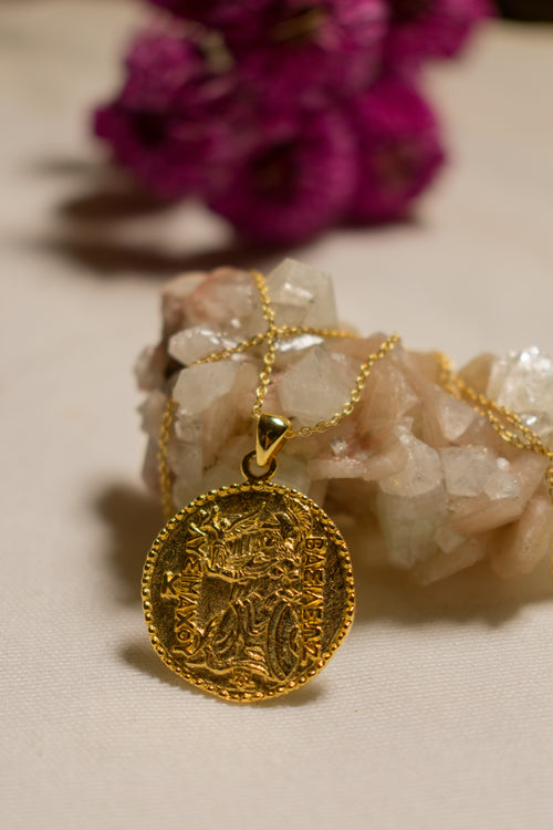 Athena Antique Coin Necklace 18K Gold Vermeil