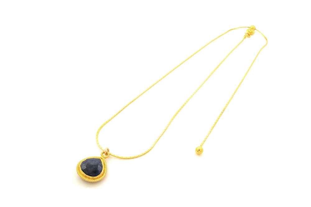 Lapis Lazuli Adjustable Necklace, 18K Gold Vermeil
