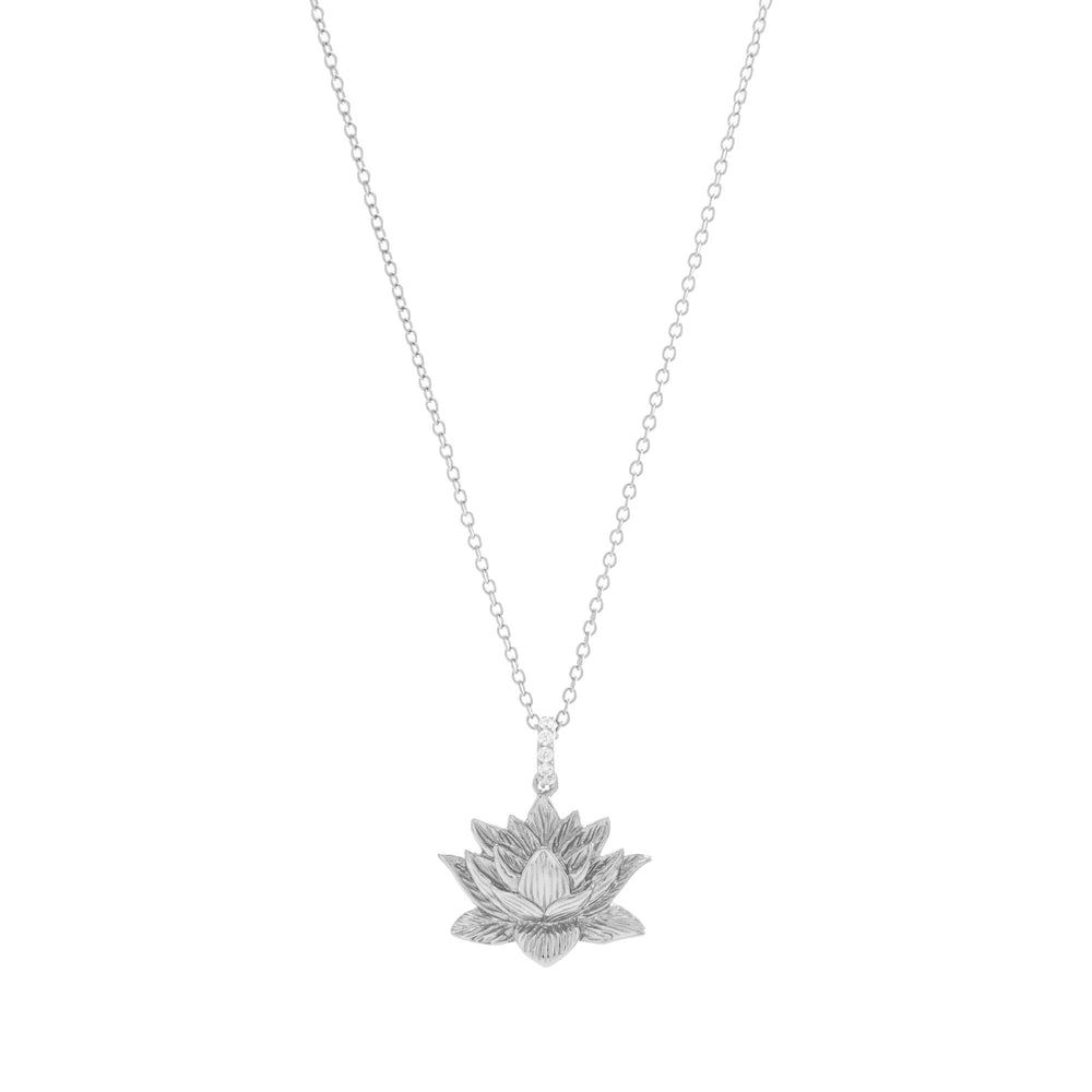 Awakened Lotus Necklace White Rhodium