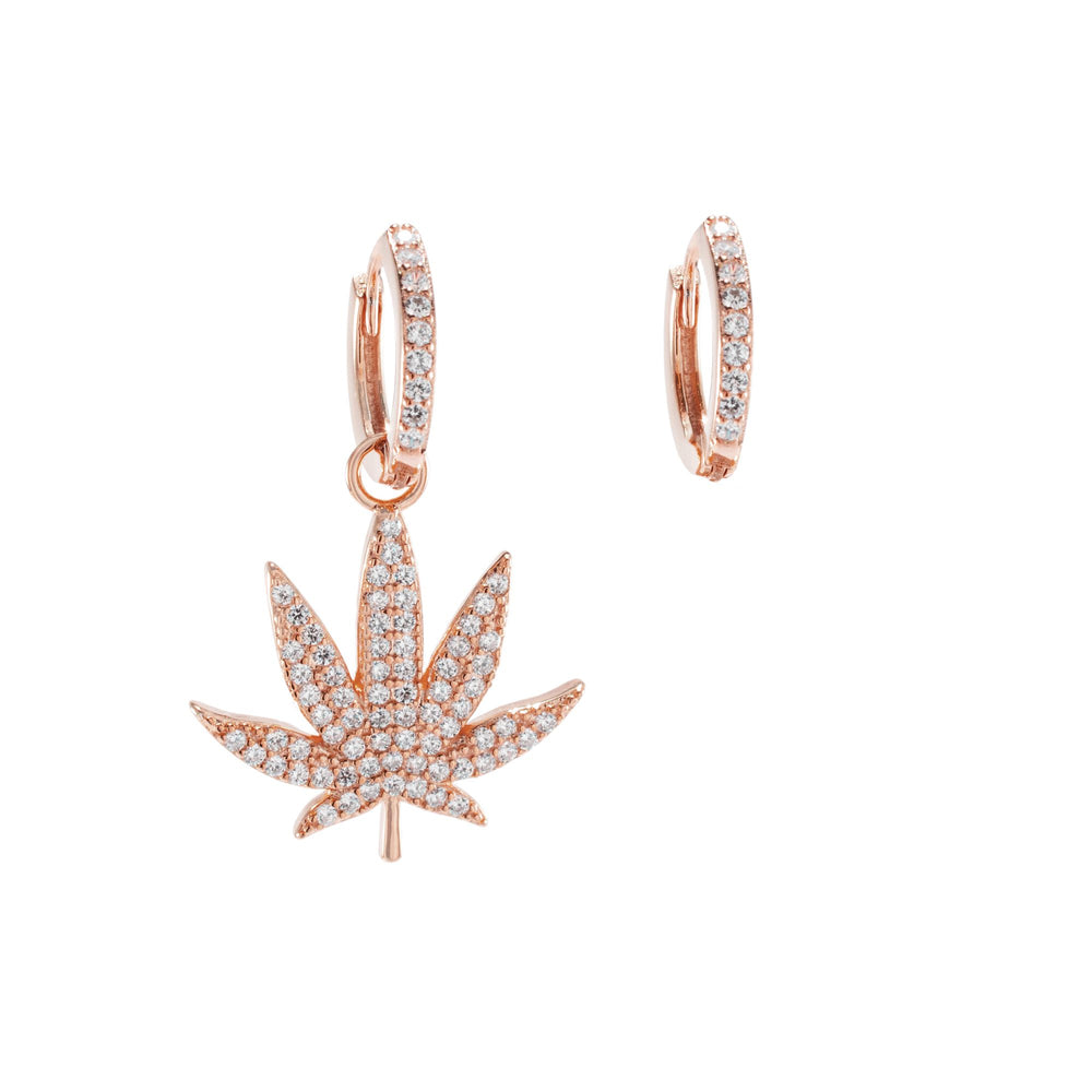 Asymmetrical Pave MJ Leaf Earrings, Rose Gold Vermeil, CZ Diamond