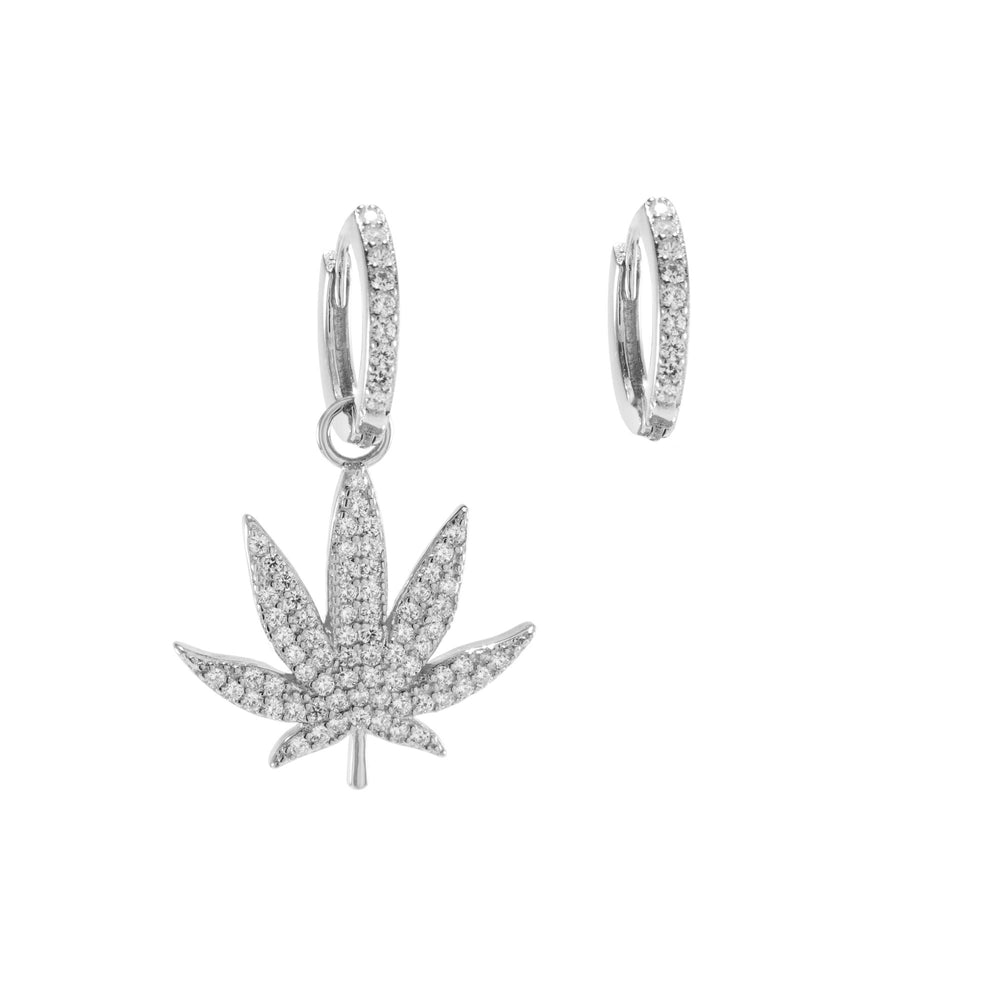 Asymmetrical Pave MJ Leaf Earrings, White Rhodium, CZ Diamond