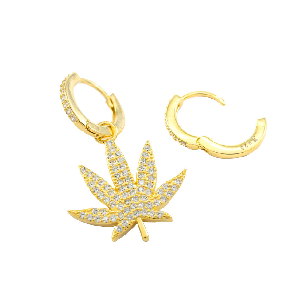 Asymmetrical Pave MJ Leaf Earrings, 18k Gold Vermeil, CZ Diamond