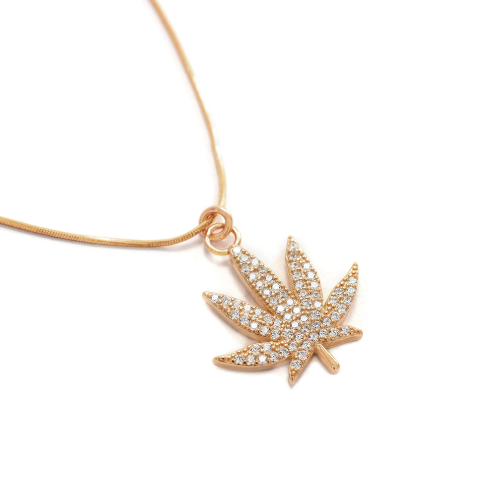 MJ Leaf Pave Necklace, Rose Gold over Sterling Silver, CZ Diamond