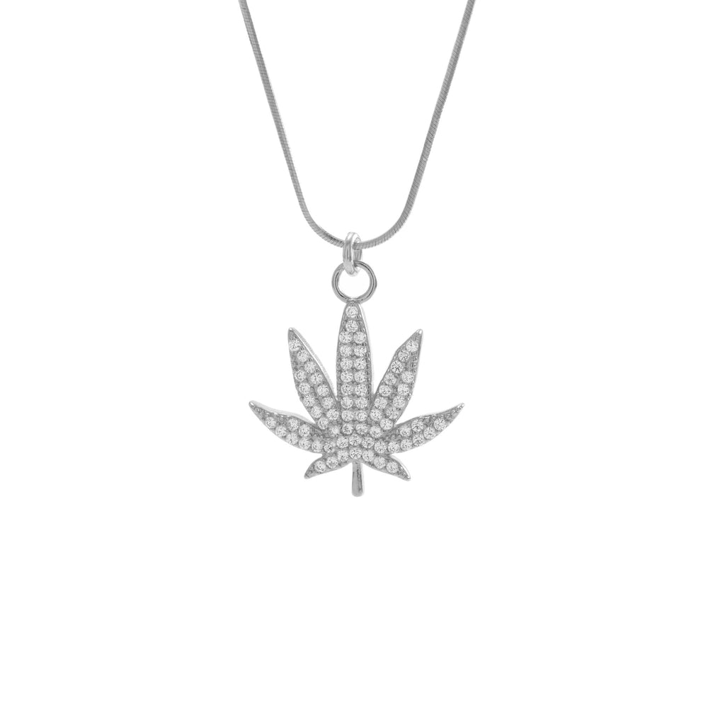 MJ Leaf Pave Necklace, White Rhodium over Sterling Silver, CZ Diamond
