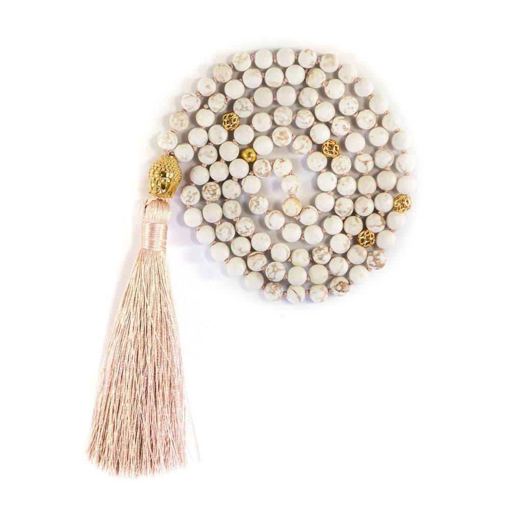 Calm The Mind Buddha Mala, Matte White Turquoise, 18K Gold