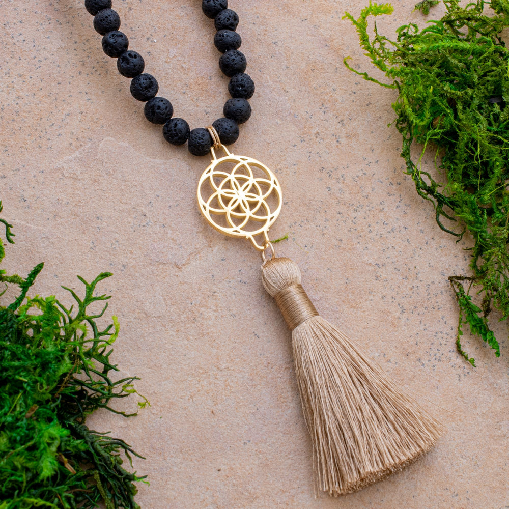 Embracing Change Seed of Life Black Lava Stone Necklace/Wrist Mala, 18k Gold Plated