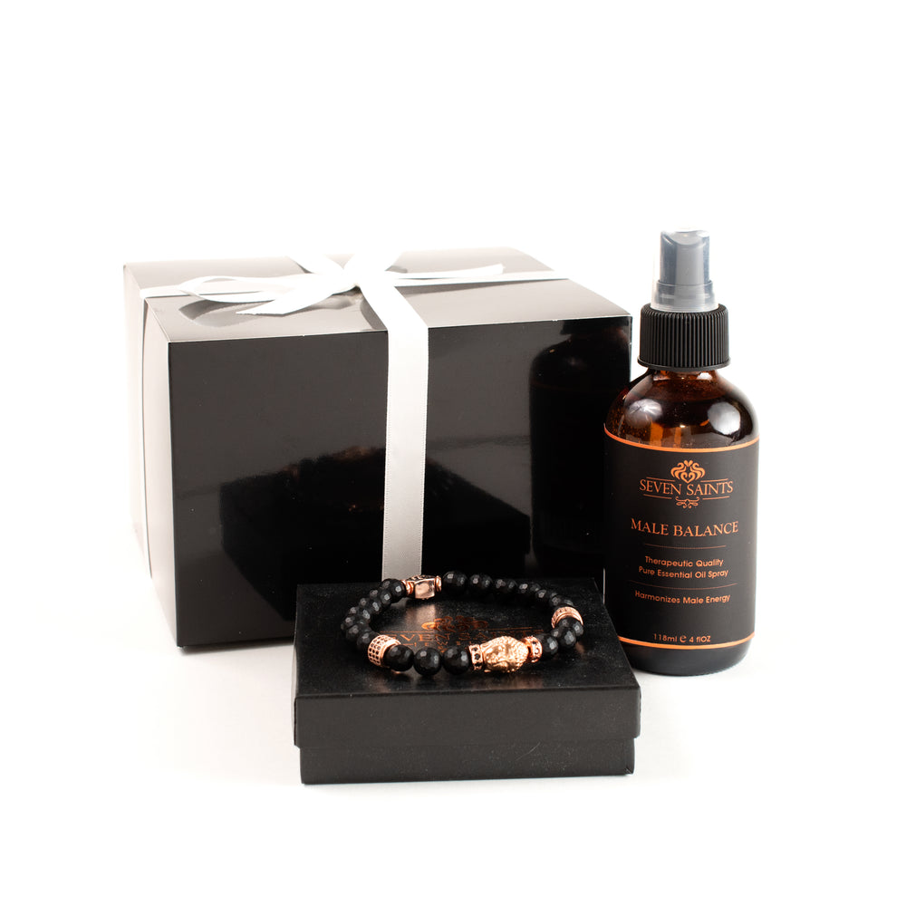 Strength & Protection Male Balance Gift Set with Onyx Buddha Bracelet in Rose Gold