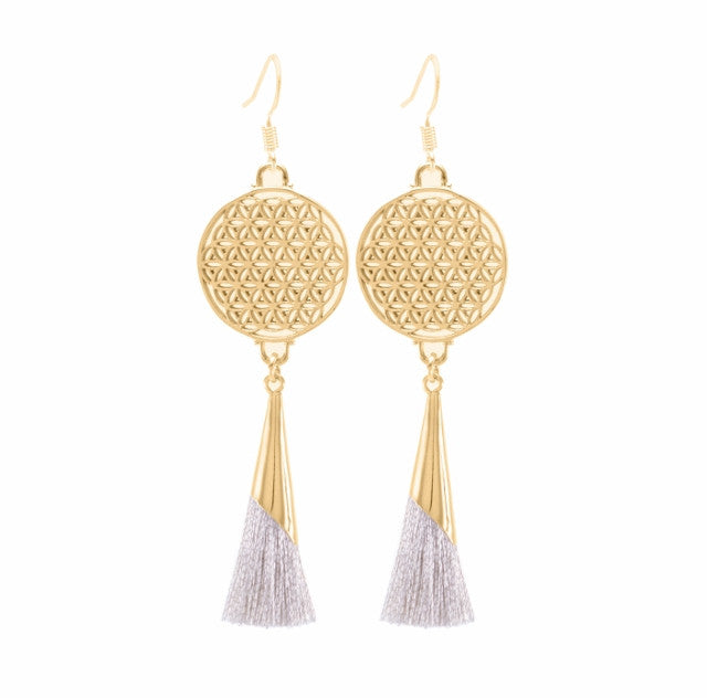 Flower of Life Tassel Earrings Silver Sand, 18K Gold Vermeil, *Seen in Glamour