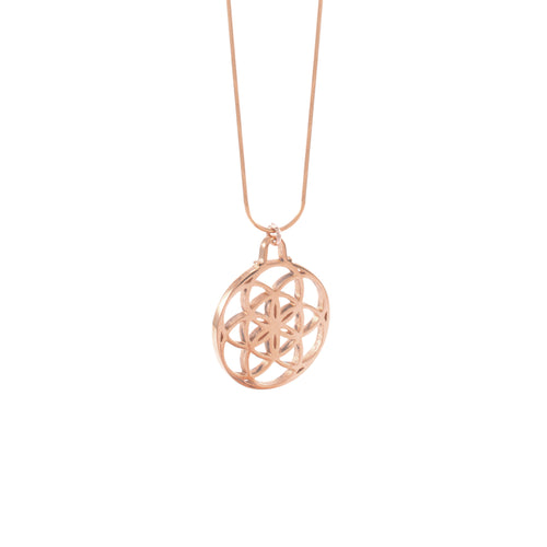 Small Seed of Life Necklace, Rose Gold, Stainless Steel