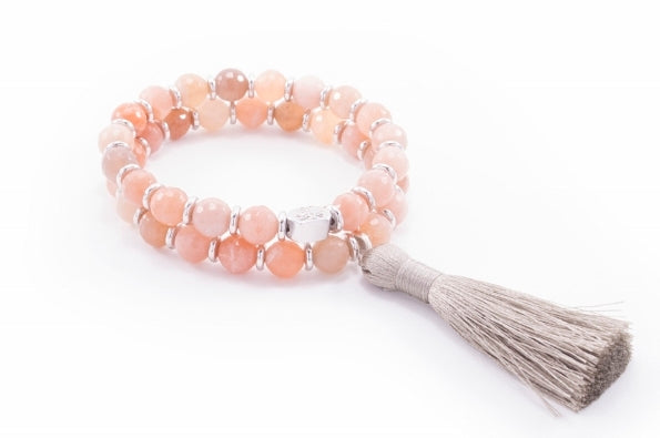 Good Luck & Success Wrist Mala Sunstone Tassel Bracelet, White Rhodium