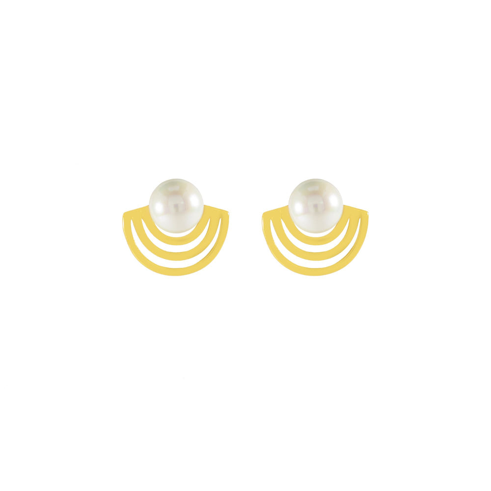 Radiate Pearl Stud Earrings, 18k Gold Plated Sterling Silver