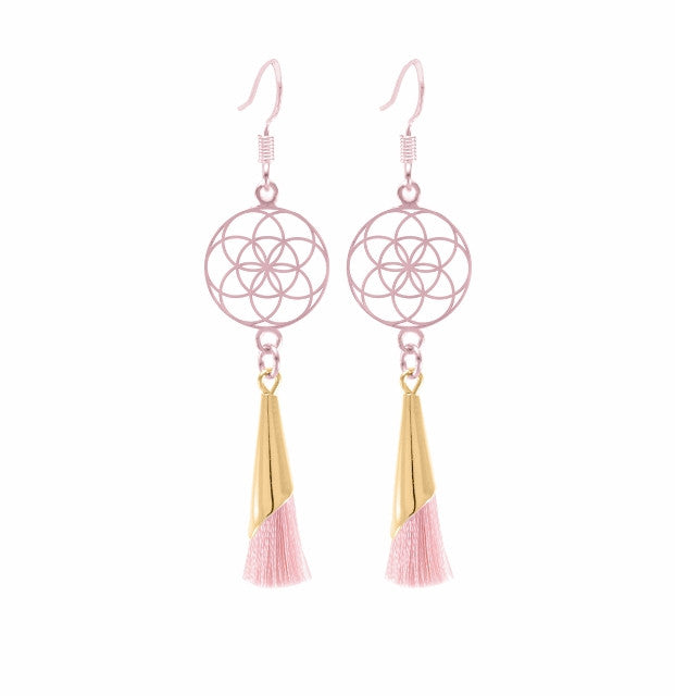 Seed of Life Small Tassel Earrings Blush, Sterling Silver, Rose Gold Finish