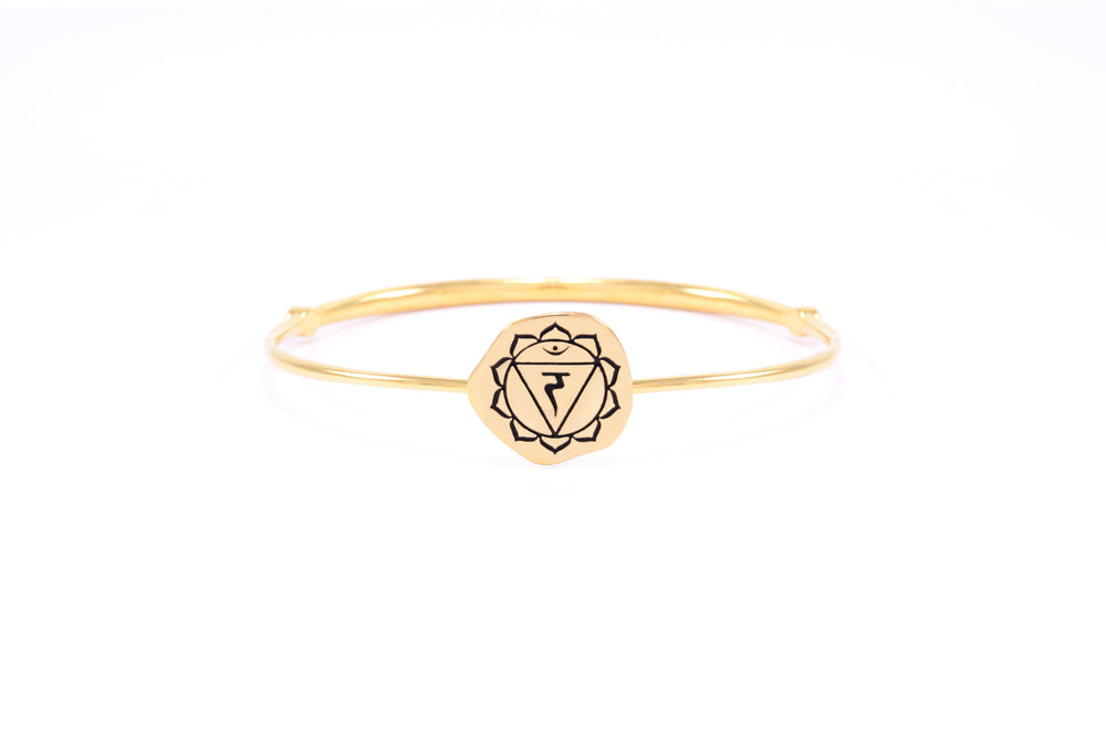 SOLAR PLEXUS CHAKRA Manipura Bangle, Citrine, 18K Gold Finish
