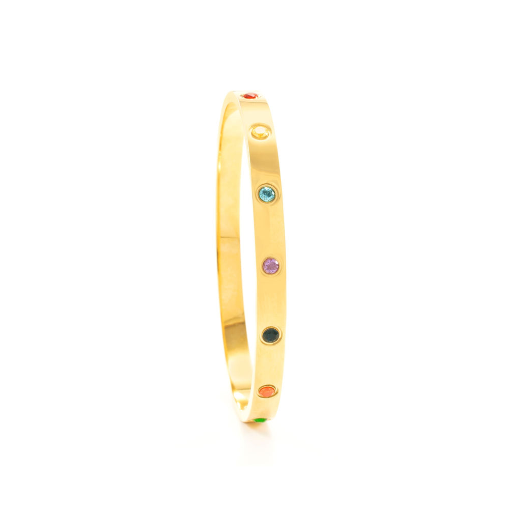 Rainbow Healing Stone Bangle, 18k Gold finished Stainless Steel, Size M-L