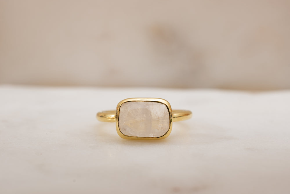 Rainbow Moonstone Minimalist Ring