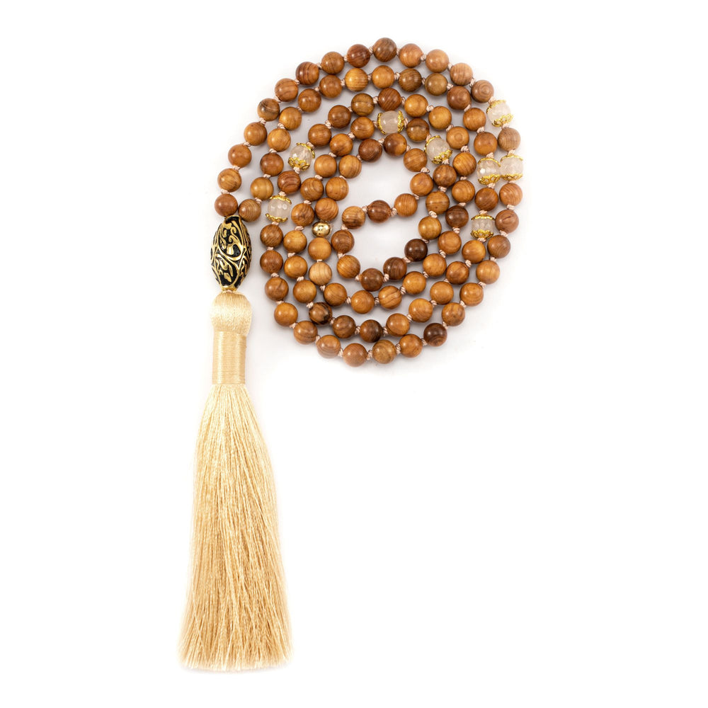 Spiritual Healing Rosewood & Rose Quartz Repousse Mala, 18k Antique Gold Finish