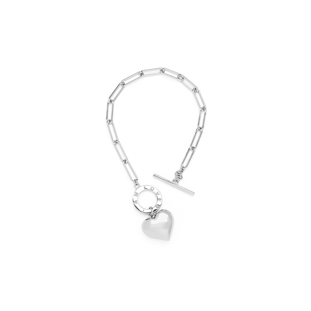 """I AM LOVED"" Heart Charm Chain Bracelet, 18k Gold Plated Sterling Silver"