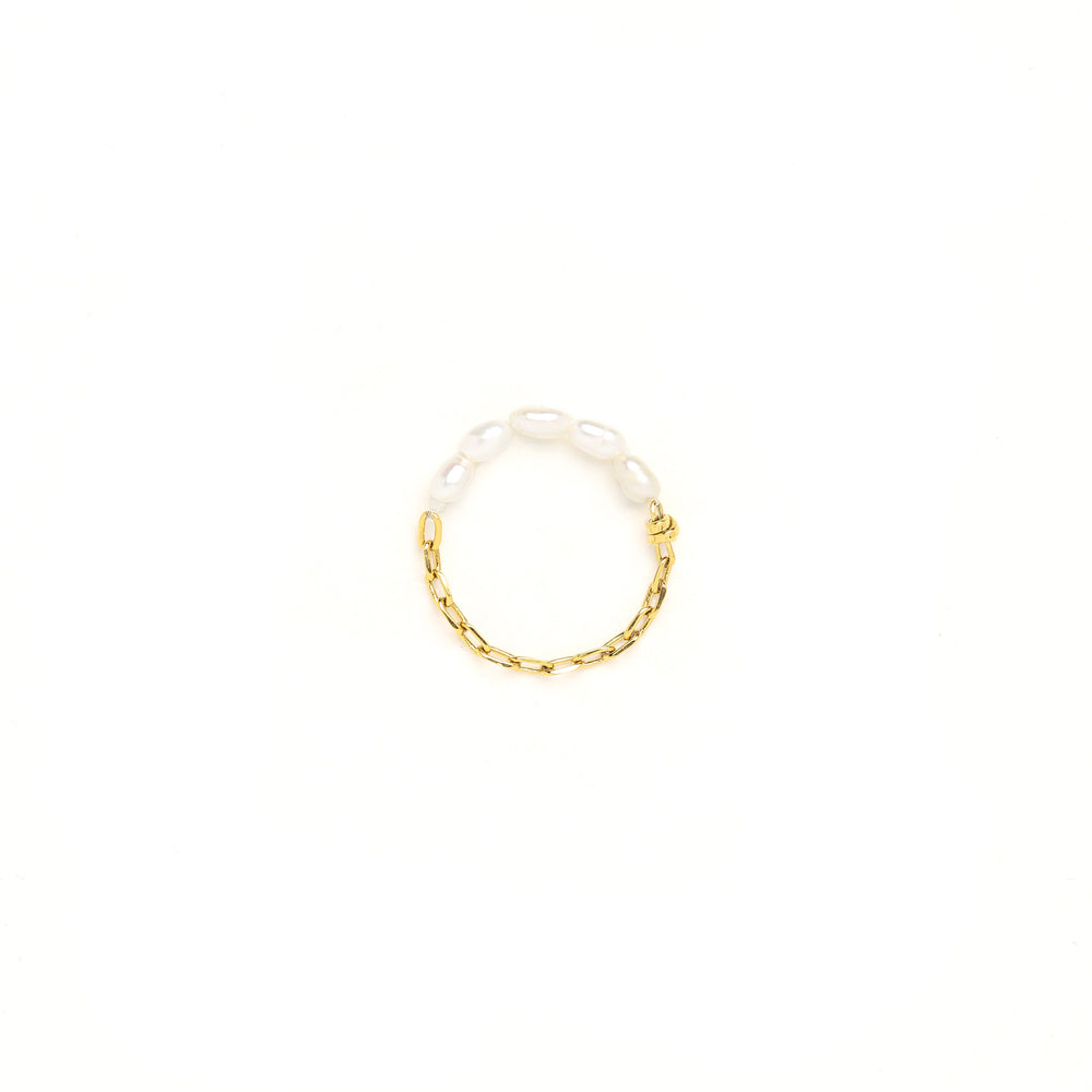 Freshwater Baroque Pearl Chain Ring, 24k Gold Plated