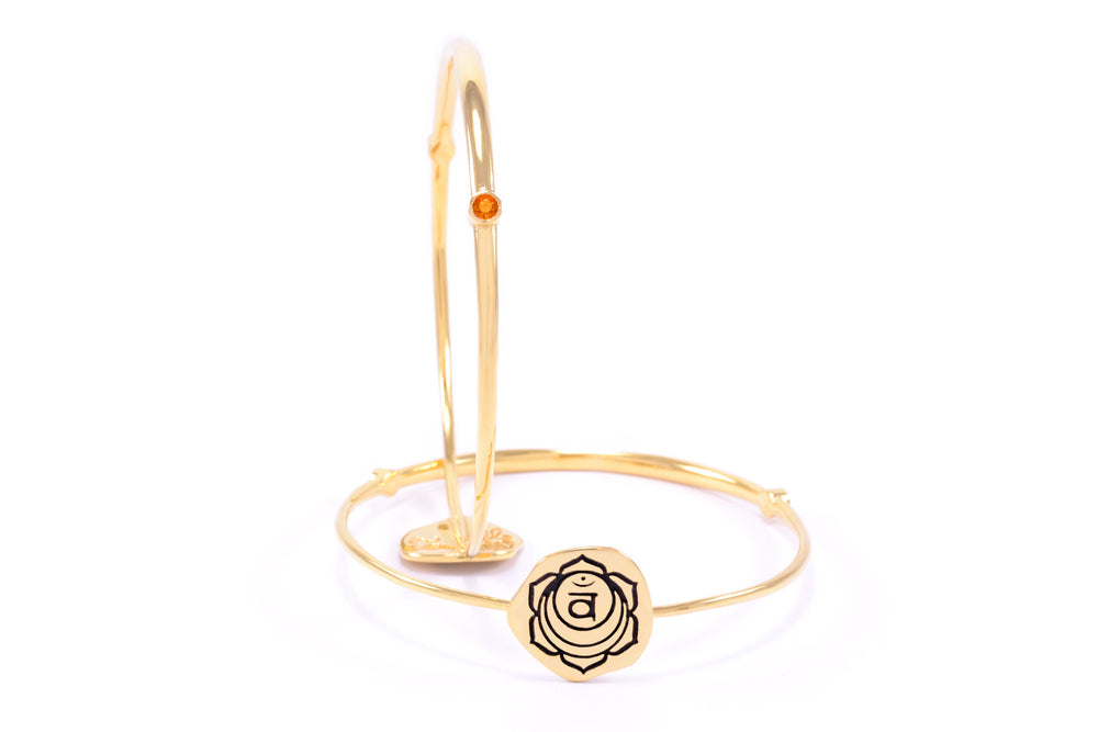 SACRAL CHAKRA Svadisthana Bangle, Orange Topaz, 18K Gold Finish