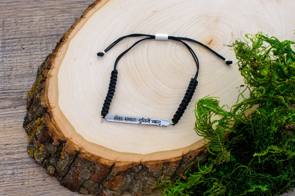 "Sanskrit Chant ""May All Beings Be Happy & Free"" Macrame Black Cord Bracelet, White Rhodium"