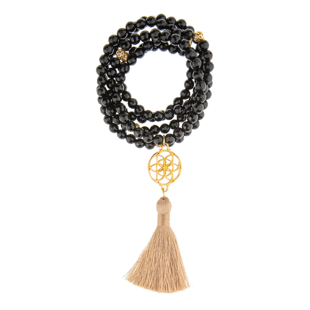 Protection Seed of Life Black Onyx Stone Necklace/Wrist Mala, 18k Gold Plated
