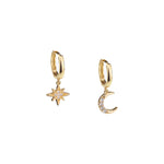 Moon & Star Huggie Hoop Earrings with Drop Charms, White Rhodium