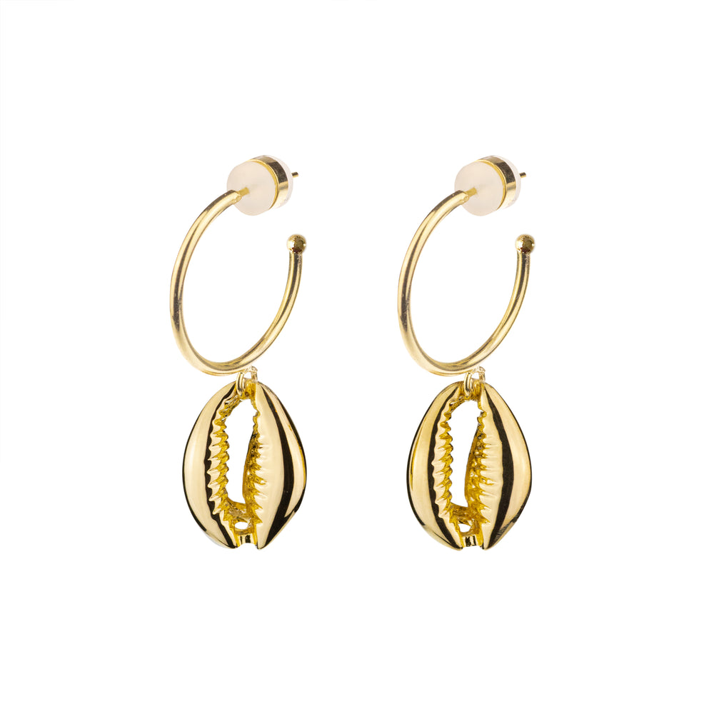 Cowrie Shell Hoop Earrings 18k Gold Vermeil