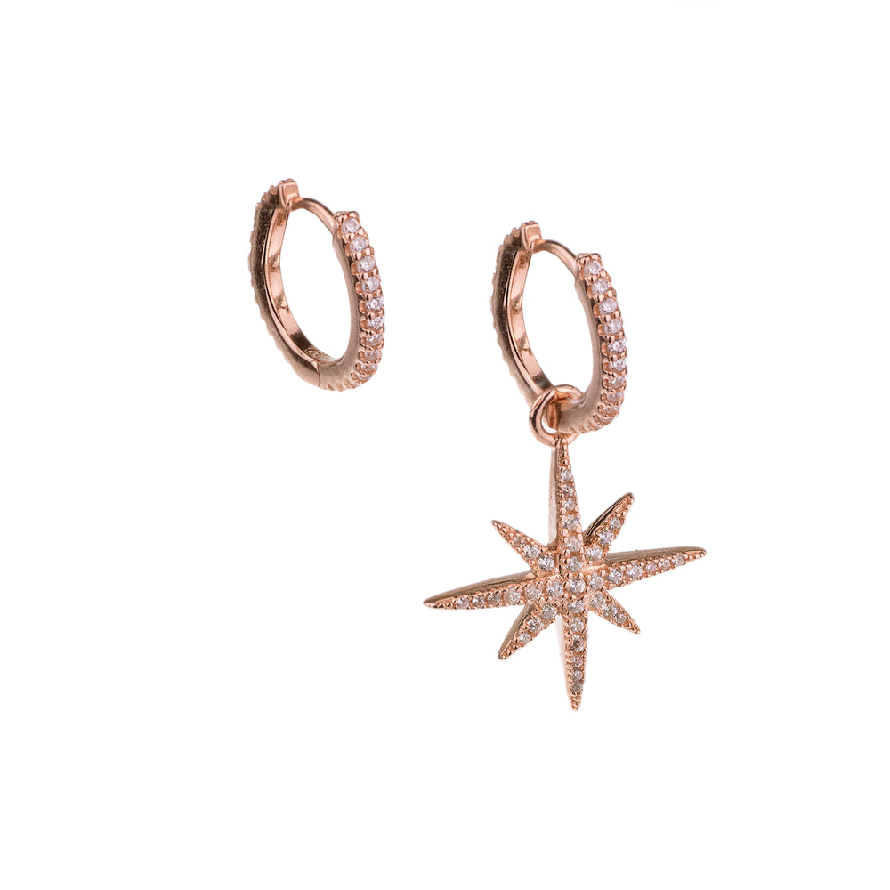 Asymmetrical North Star Huggie Hoop Earring with Zirconia Diamond, Rose Gold Vermeil
