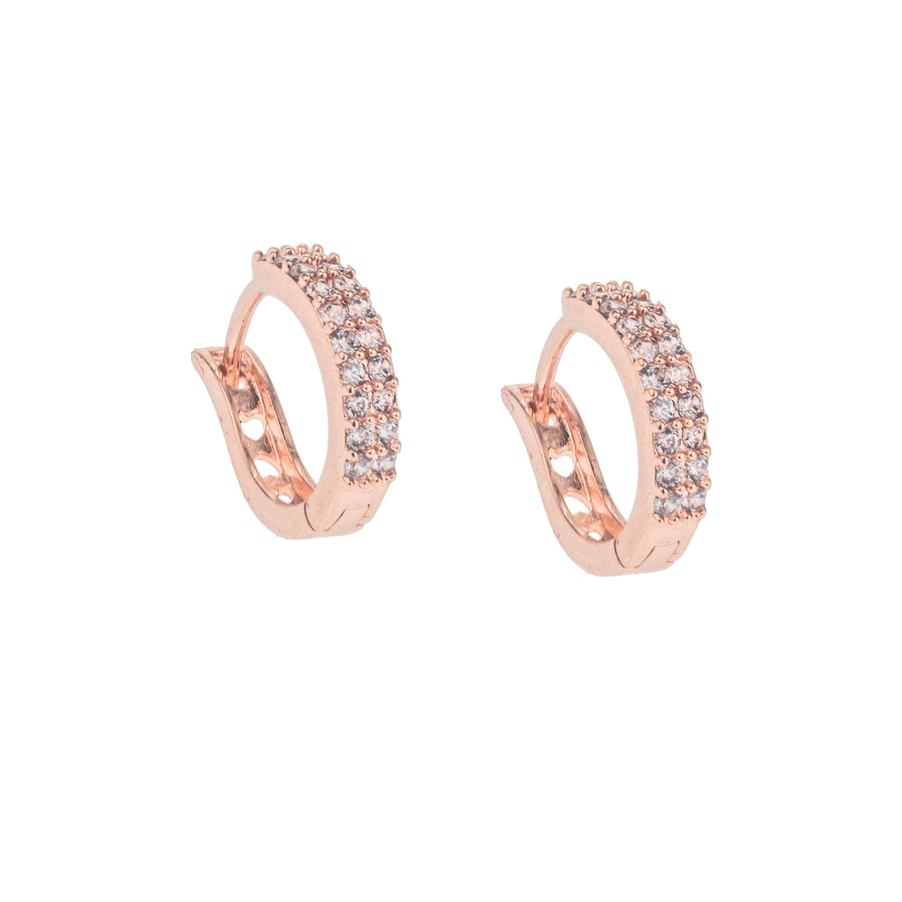 Huggie Hoop Earrings, White Rhodium with Zirconia Diamonds