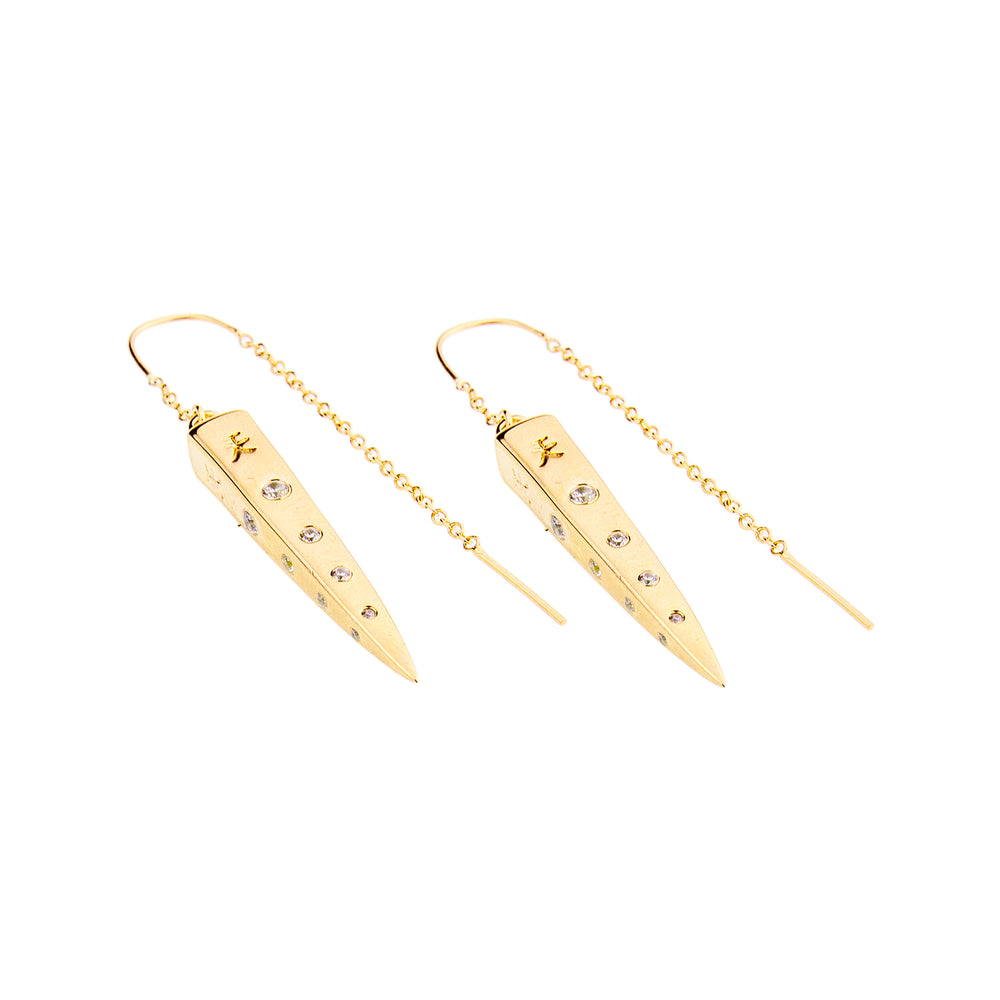 """Good Fortune Every Day"" Spike Earrings with Clear Quartz, 18K Gold Vermeil"