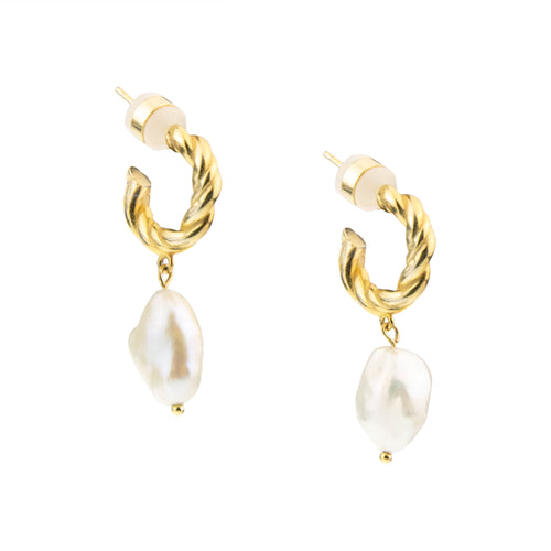 Baroque Freshwater Pearl Twisted Hoop Earring, Gold Plated Sterling Silver