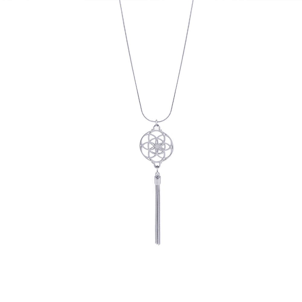 Seed of Life Tassel Necklace, Stainless Steel + Vermeil