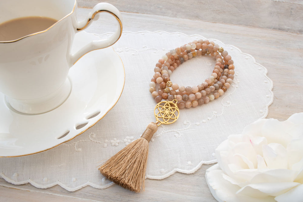 Self-Empowerment & Freedom Seed of Life Sunstone Necklace/Wrist Mala, 18k Gold Plated