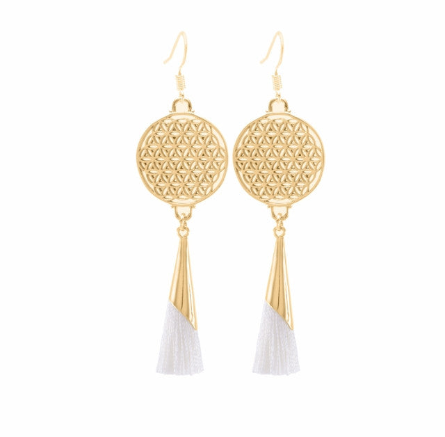 Flower of Life Tassel Earrings Ivory, 18K Gold Vermeil