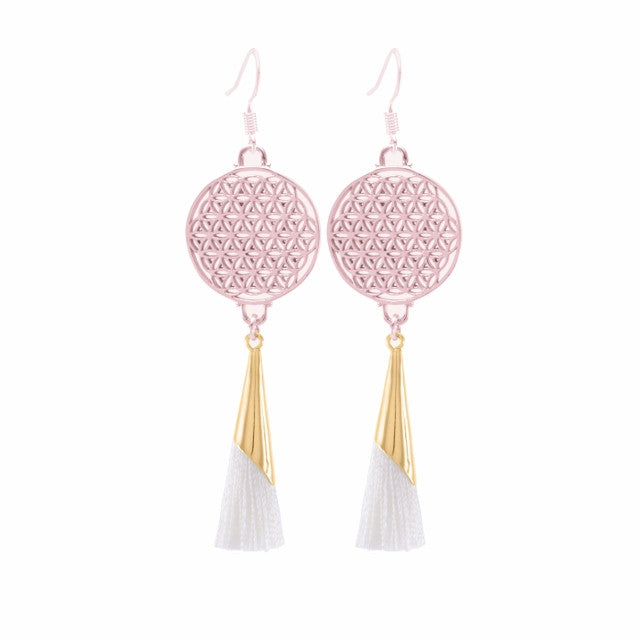 Flower of Life Tassel Earrings Ivory, Rose Gold Finished Sterling Silver