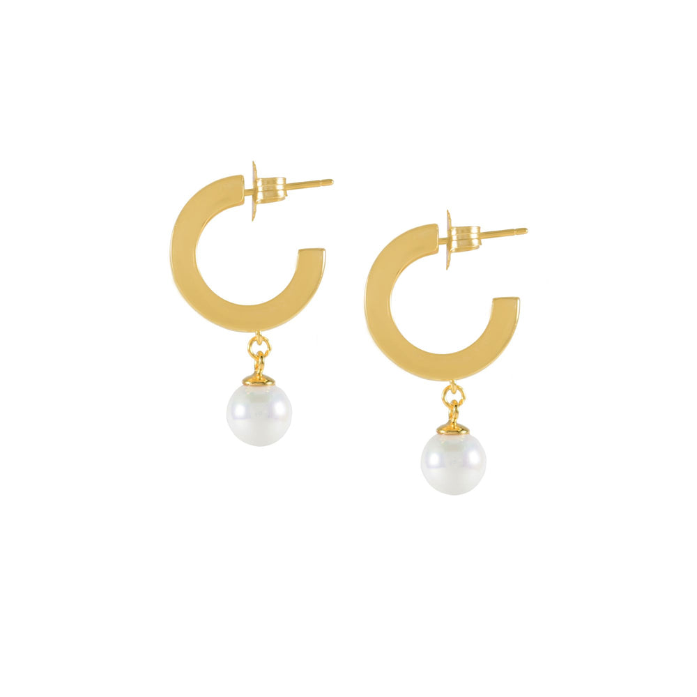 Modern Drop Pearl Hoop Earrings