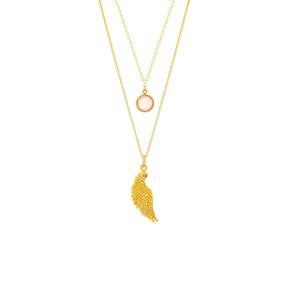 ARCHANGEL CHAMUEL Angel Of Love Necklace, Rose Quartz, 18K Gold
