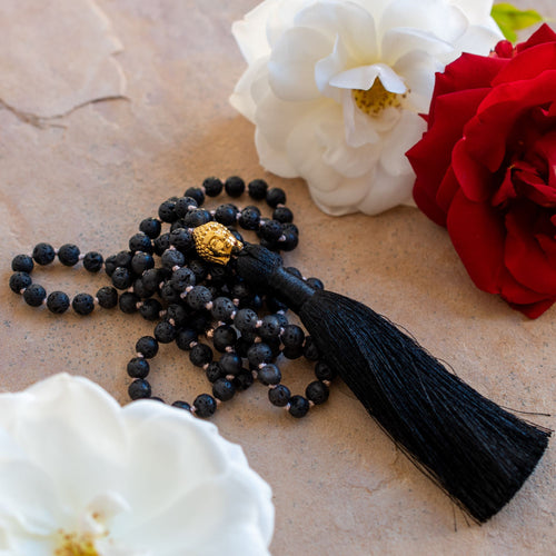 Balanced Emotions Black Lava Stone Buddha Mala, White Rhodium Plated