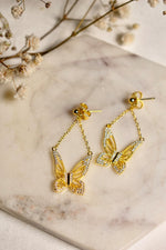 Graceful Spirit Butterfly Earrings, 18k Gold Vermeil with CZ Diamond Pave