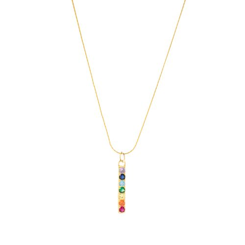 Chakra Align Rainbow Bar Necklace, 18k Gold Vermeil