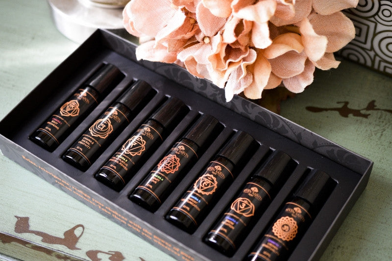 Chakra Balancing 100% Pure Aromatherapy Roll On Essences, Box Set of 7