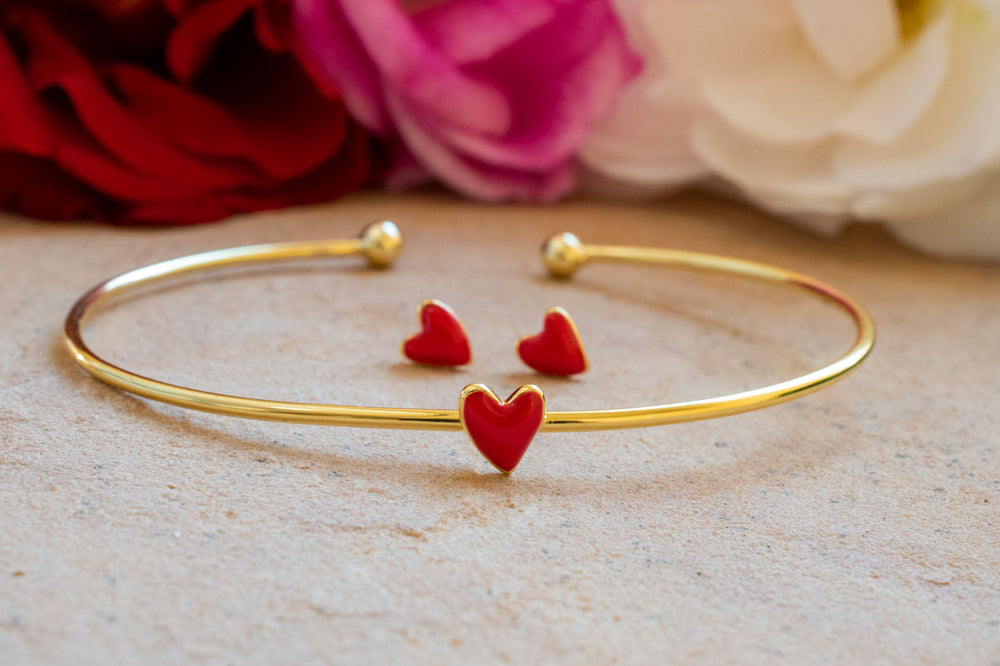 Red Enamel Heart Stud Earrings, 18k Gold Plated Sterling Silver